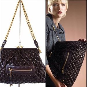 Marc Jacobs leather quilted Stam bag in plum